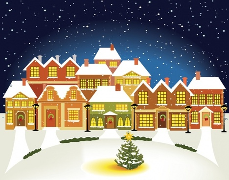 cartoon christmas lights house building vector