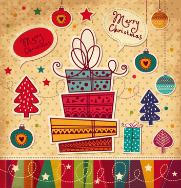 cartoon christmas new year cards vector