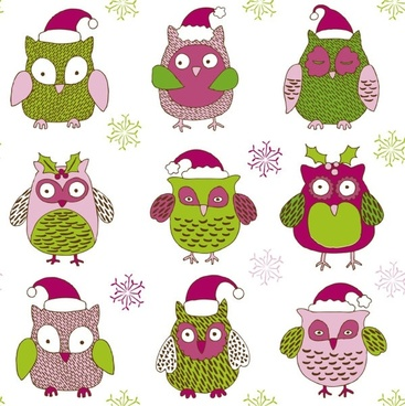 cartoon christmas owl pattern 01 vector