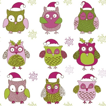 cartoon christmas owl pattern vector