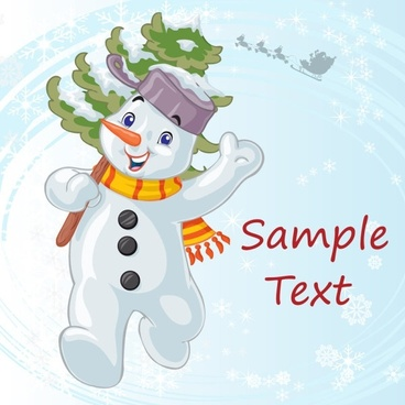 cartoon christmas snowman 03 vector