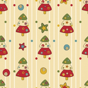 cartoon christmas tree pattern vector