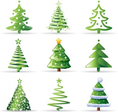 fir tree icons green flat 3d sketch