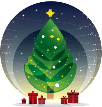 cartoon christmas tree with night vector