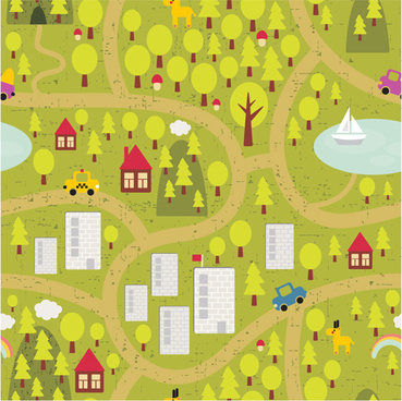 cartoon city landscape vector