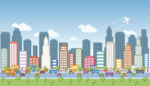 cartoon city landscape vector