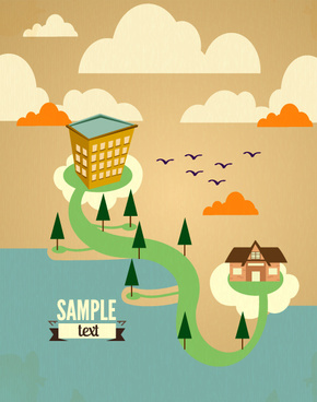 cartoon city scenery vector