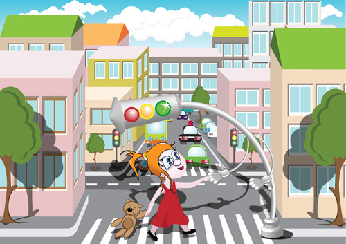 cartoon city scenes elements vector graphics