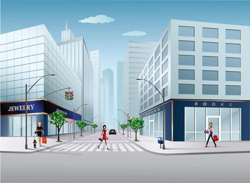 cartoon city scenes elements vector graphics