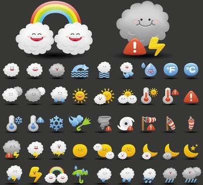 cartoon clouds rain thunder vector weather icons