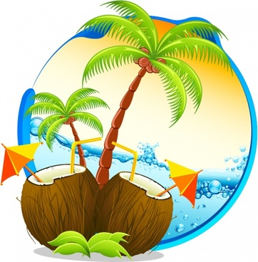 beach vacation background colorful modern coconut wave sketch
