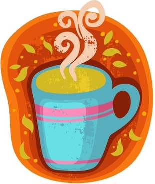 cartoon coffee cup stickers 02 vector