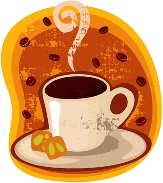 cartoon coffee cup stickers 03 vector