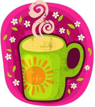 cartoon coffee cup stickers 05 vector
