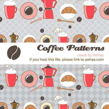 cartoon coffee patterns vector backgrounds