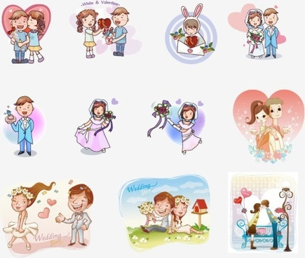 cartoon couple figure 01 vector