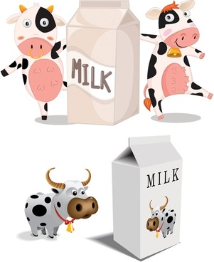 cartoon cow vector milk cartons and