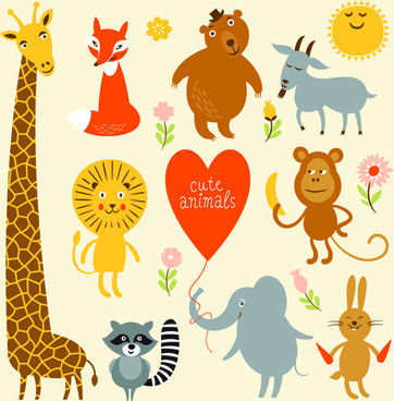 cartoon cute animals design graphics
