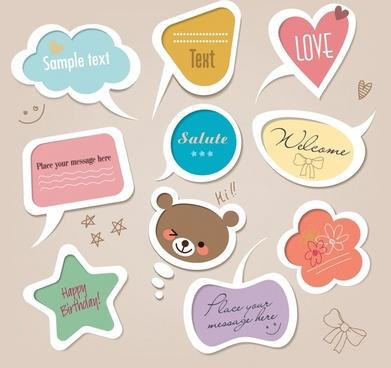 cartoon cute bow vector labels