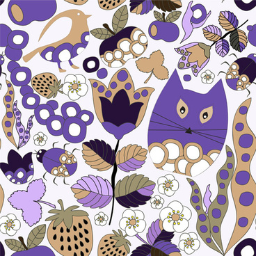 cartoon cute cat seamless pattern vectors
