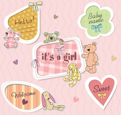 cartoon cute label vector
