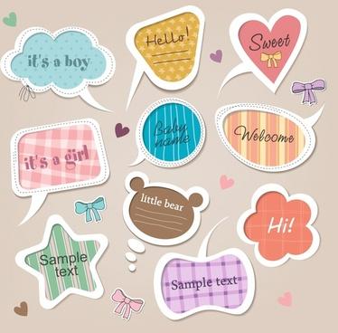 cartoon cute shaped labels vector