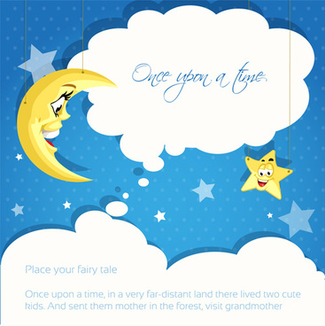 Cartoon cute stars and moon background vector