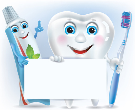 cartoon cute tooth with toothpaste and toothbrush vector