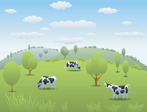 cartoon dairy cow and natural landscapes vector