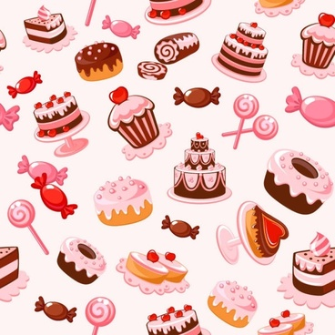 cartoon dessert background 01 vector