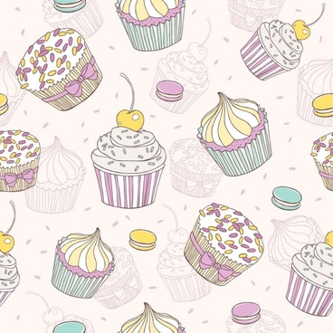 cartoon dessert background 02 vector