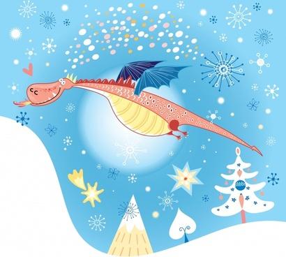 cartoon dinosaur snowflakes background vector line art illustration