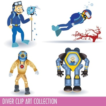 cartoon divers 02 vector