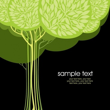 ecology card background dark decor green tree sketch