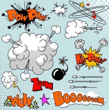 cartoon explosion pattern 01 vector