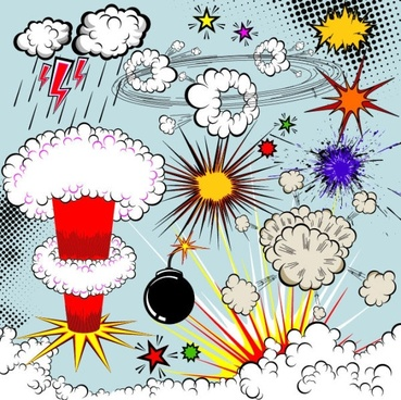 cartoon explosion pattern 02 vector