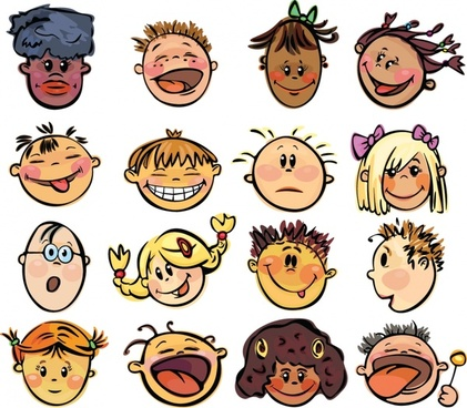 kids face avatars cute funny cartoon characters