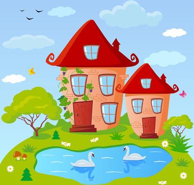 cartoon fairytale town vector