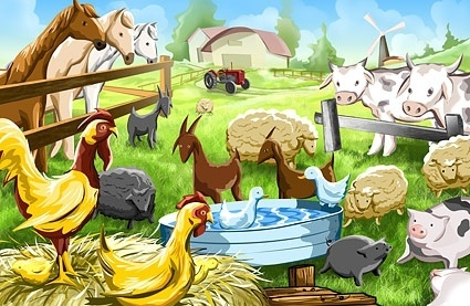 cartoon farm illustrator psd layered