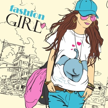 cartoon fashion beauty 02 vector