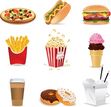 fast food design elements modern colored 3d symbols