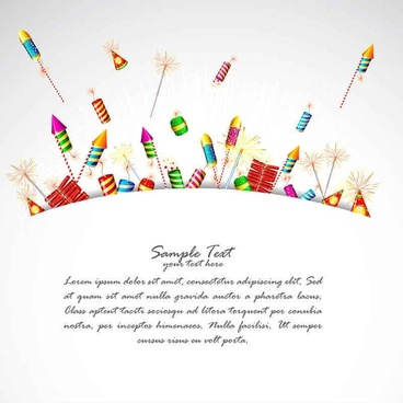 Cartoon Festival fireworks vector