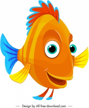 cartoon fish icon cute colorful stylized design