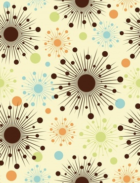 floral background flat colored circles lines decor