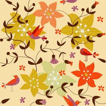 cartoon floral flower pattern vector
