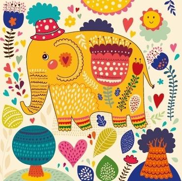 cartoon flower and elephants vector