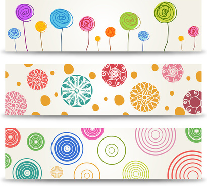 cartoon flower banner set