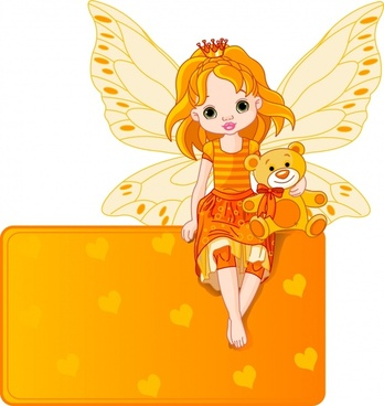 cartoon flower fairy girl wings vector