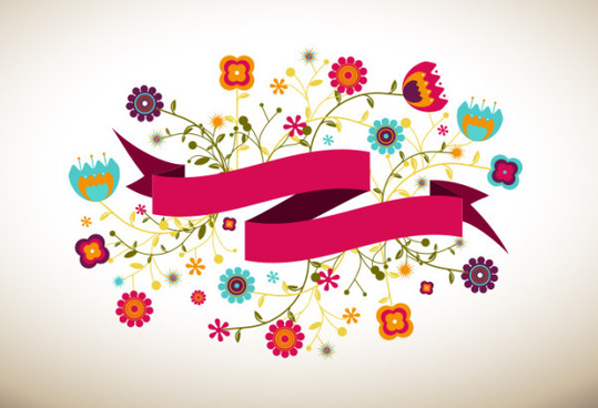 cartoon flowers and ribbon vector free