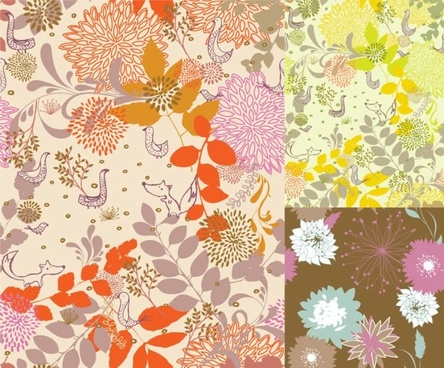 flowers pattern sets colorful classical design